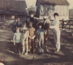 My pony, Candy…with cousins, brother and sister. And my Mom, holding Candy.