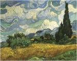 Van Gogh's Cypresses and mountains near Eygalieres